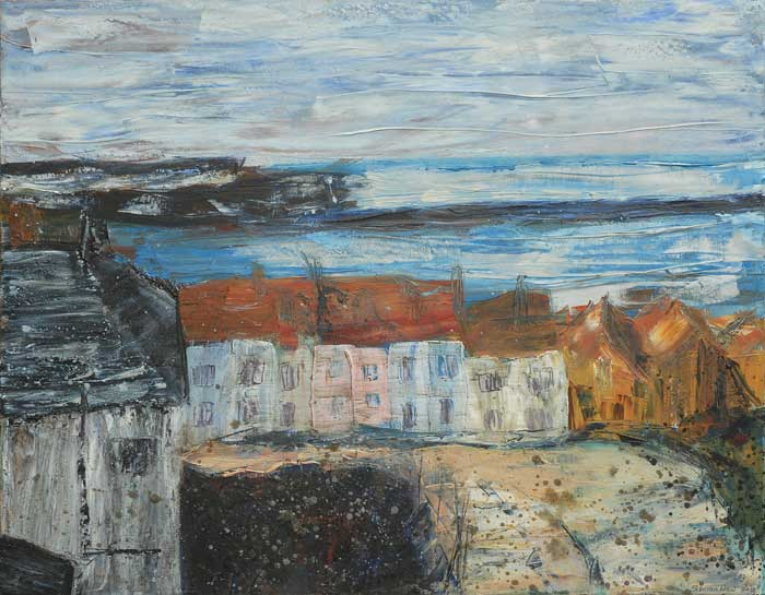 Descending Whitby Steps, oil painting